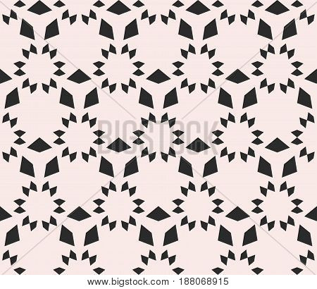 Vector monochrome seamless texture, floral tile pattern. Abstract geometric background with simple geometrical shapes stars triangles. Repeat tiles. Design element for prints, decor, textile, covers
