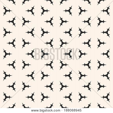 Vector seamless pattern, minimalist monochrome geometric texture. Simple illustration of triangular prickly figures. Abstract repeat background. Design element for prints, cover, textile, digital, web