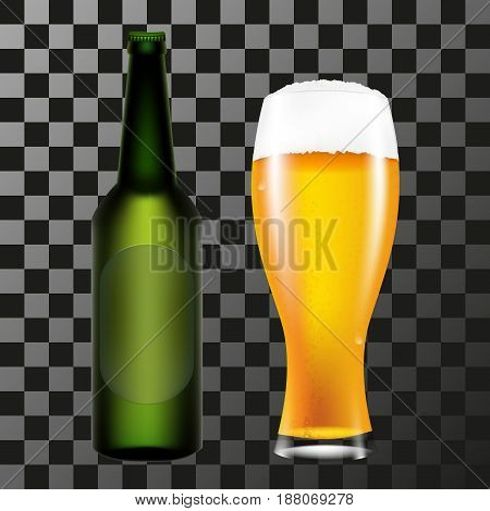 A realistic bottle and a glass of beer with foam. A vector illustration on a transparent background.