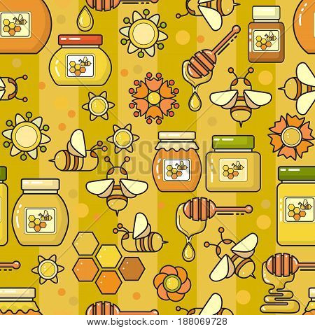 Vector seamless pattern. Beekeeping product. Included bee, honey, jar, dipper, honeycomb  and flower on yellow background