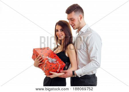 happy girl with the gift of hugs guy isolated on white background