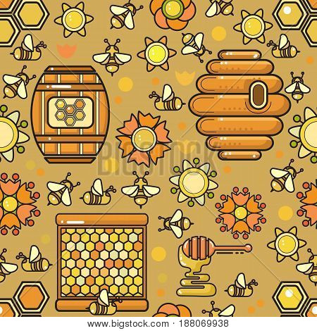 Vector seamless pattern. Beekeeping product. Included bee, honey,  dipper, honeycomb, beehive and flower on olive background