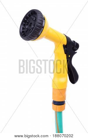 Garden Nozzle Sprayer With Adjustable Water Jet On A Hose. Convenient Sprayer For Variable Watering
