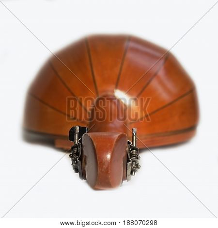 string instrument mandolin on a white background, pushing forward with selective focus on pegs and tuning pins, isolate