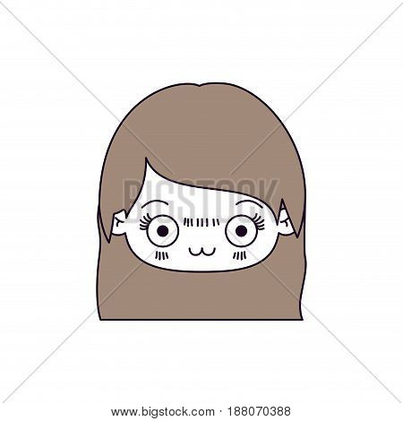 silhouette color sections and light brown hair of kawaii head of cute little girl with straight hair and facial expression depressed vector illustration