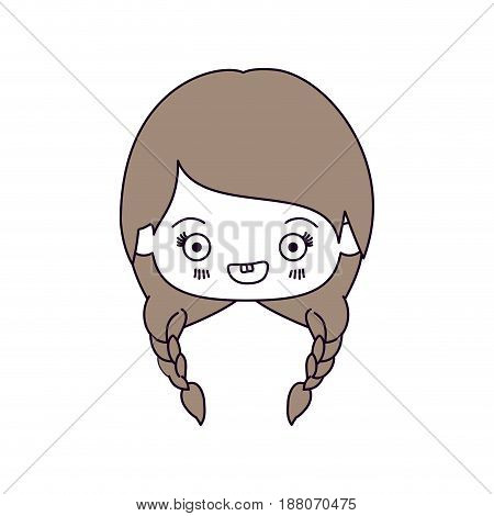 silhouette color sections and light brown hair of kawaii head of cute little girl with braided hair and smiling vector illustration