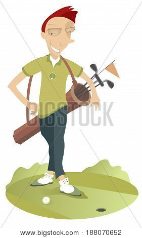 Smiling man with bag with golf clubs is on the golf course