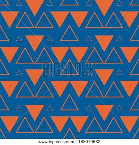 Simple seamless geometric blue pattern with orange triangles
