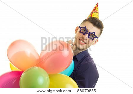 funny young guy at a costume party birthday isolated on white background