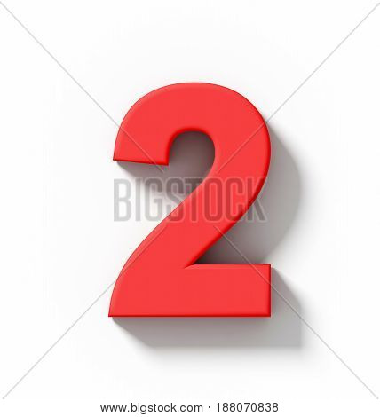 Number 2 3D Red Isolated On White With Shadow - Orthogonal Projection
