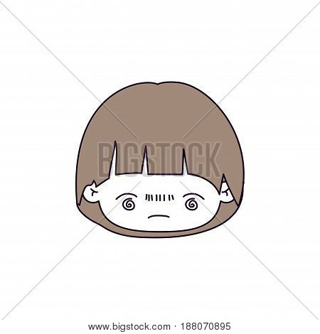 silhouette color sections and light brown hair of kawaii head of little boy with facial expression bored vector illustration
