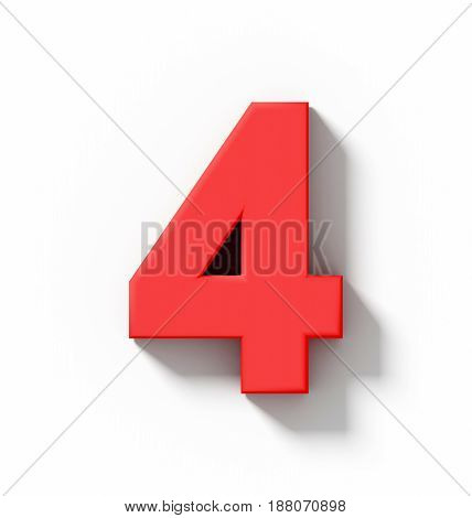 Number 4 3D Red Isolated On White With Shadow - Orthogonal Projection