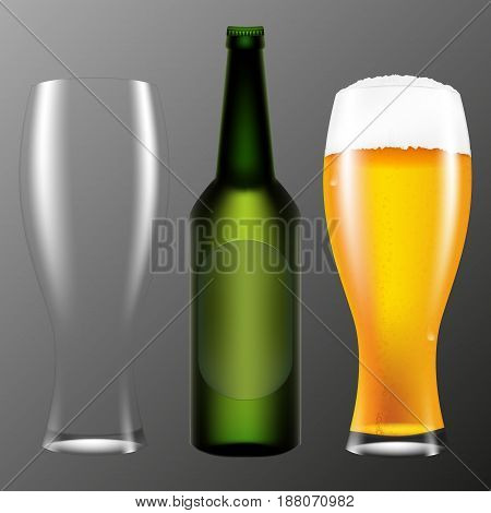 Realistic bottle and a glass of beer. Vector illustration on a gray background.