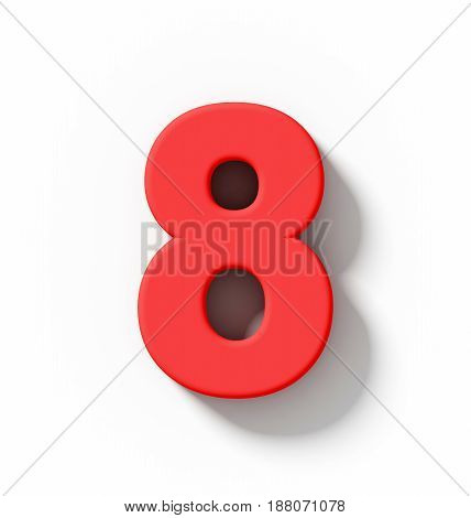 Number 8 3D Red Isolated On White With Shadow - Orthogonal Projection