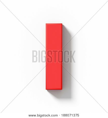 Letter I 3D Red Isolated On White With Shadow - Orthogonal Projection