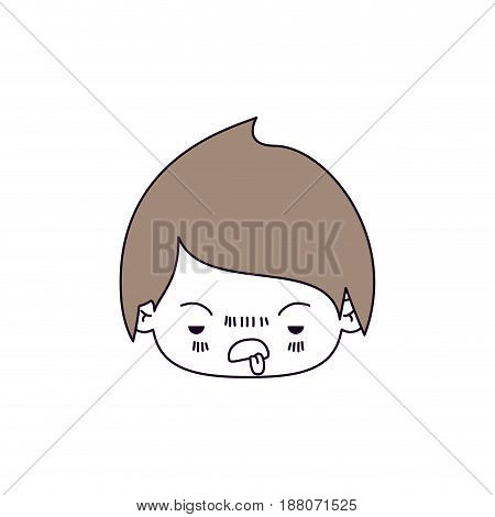 silhouette color sections and light brown hair of kawaii head of little boy with unpleasant facial expression vector illustration