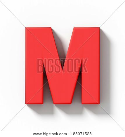 Letter M 3D Red Isolated On White With Shadow - Orthogonal Projection