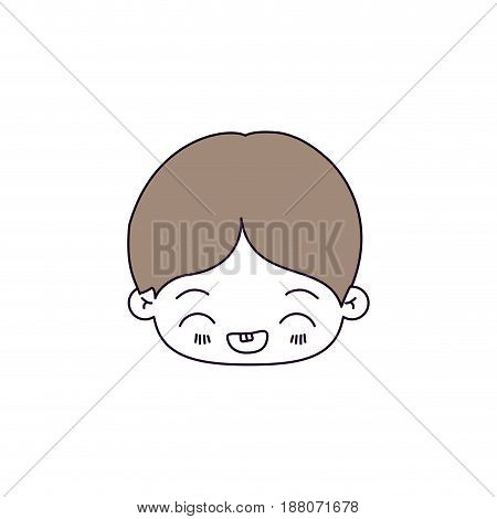 silhouette color sections and light brown hair of kawaii head of little boy with facial expression laughing vector illustration