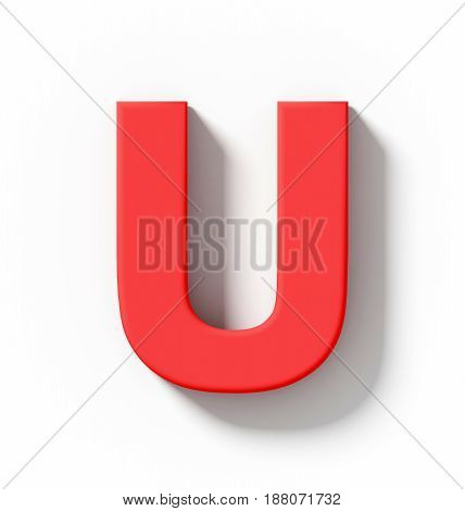 Letter U 3D Red Isolated On White With Shadow - Orthogonal Projection