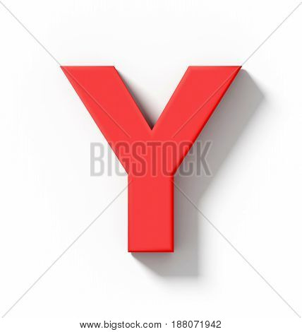 Letter Y 3D Red Isolated On White With Shadow - Orthogonal Projection
