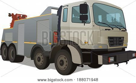 realistic big Wrecker. Big car isolated on white background  illustration