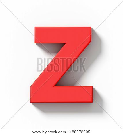 Letter Z 3D Red Isolated On White With Shadow - Orthogonal Projection