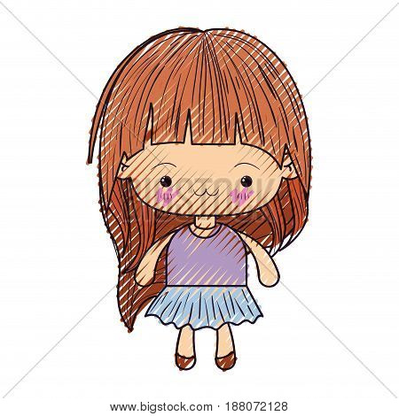 colored crayon silhouette of kawaii little girl with long hair and facial expression exhausted vector illustration