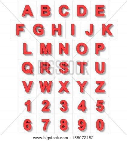 Letters And Numbers 3D Red Isolated On White With Shadow - Orthogonal Projection