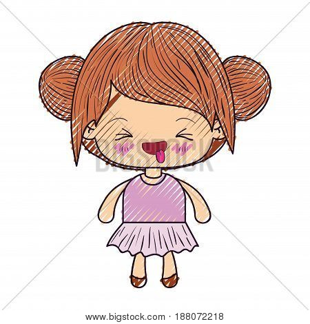 colored crayon silhouette of kawaii little girl with collected hair and facial expression unpleasant vector illustration