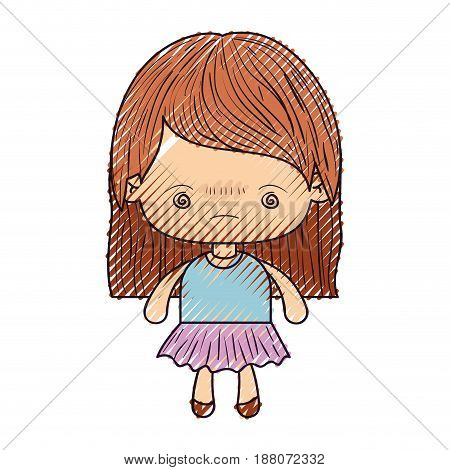 colored crayon silhouette of kawaii little girl with straight hair and facial expression bored vector illustration