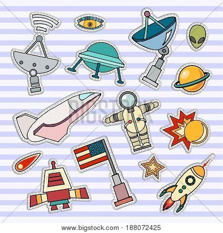 Space patch badges. Vector template illustration. Moon, planet, rocket, earth, cosmonaut comet universe Classification milky way Cosmos