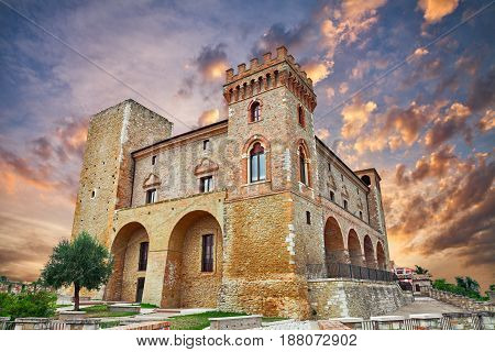 Crecchio, Chieti, Abruzzo, Italy: medieval castle at sunset in the old town