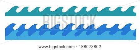 stylized cartoon ocean waves hand drawn endless border isolated vector illustration