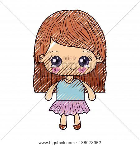 colored crayon silhouette of kawaii cute little girl with straight hair and facial expression depressed vector illustration