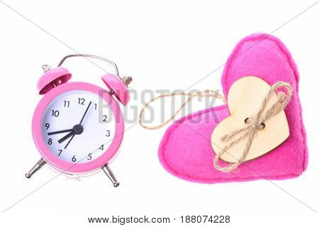 Alarm Clock In Pink Colour And Soft Pink Heartshaped Toy