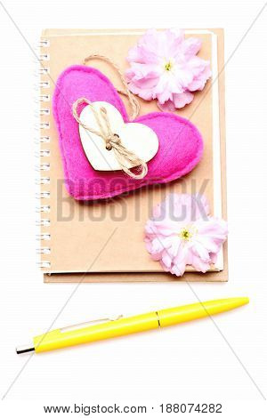 Diary Notebook With Pink Heart, Sakura Flowers And Yellow Pen