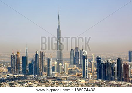 Dubai Burj Khalifa Downtown Aerial View Photography