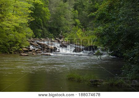 Arkansas Stream with Cascades and rushing water