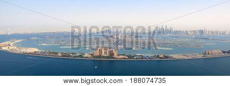 Dubai The Palm Jumeirah Island Atlantis Hotel Panorama Marina Aerial View Photography