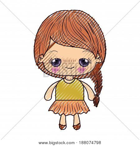 colored crayon silhouette of kawaii cute little girl with braided hair and embarrassed facial expression vector illustration
