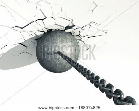 Metallic Wrecking Ball Shattering White Wall. Top view. 3D Illustration.