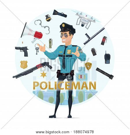 Police officer elements round concept with pistol shotgun grenades baton speaker radio badges handcuff flashlights quadrocopter isolated vector illustration