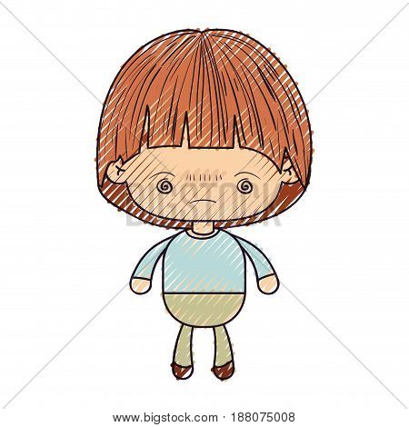 colored crayon silhouette of kawaii little boy with facial expression bored vector illustration