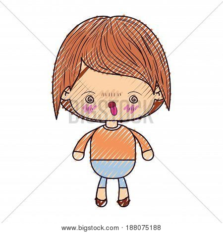 colored crayon silhouette of kawaii little boy with facial expression furious vector illustration
