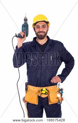 Smiling beard young worker holding driller man wearing workwear and belt equipment isolated on white background