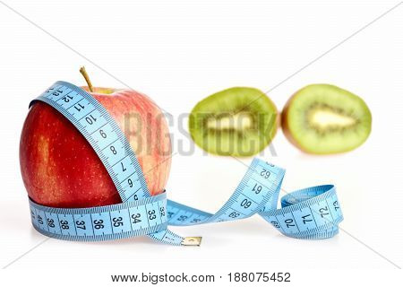 Apple Wrapped Around With Long Blue Measuring Tape