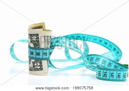 Measuring Tape With Dollar, Beauty Requires Sacrifice Concept