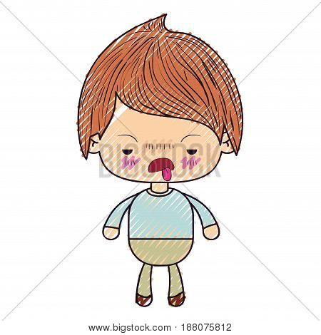 colored crayon silhouette of kawaii little boy with unpleasant facial expression vector illustration