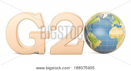 G20 concept. Golden inscription with Earth globe 3D rendering isolated on white background