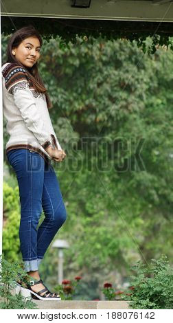 Standing Teen Female in a Public Park
